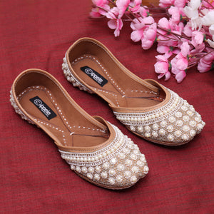 Foot Wear,Whilte Pearls this time Fabulous For Feet Jutti - Cippele Multi Store