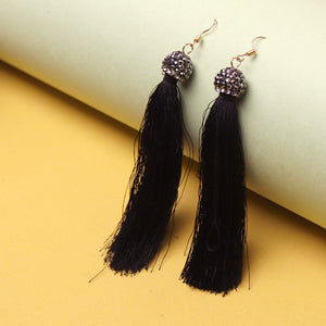 Earrings,Tip Tassel Drop Earrings in black - Cippele Multi Store