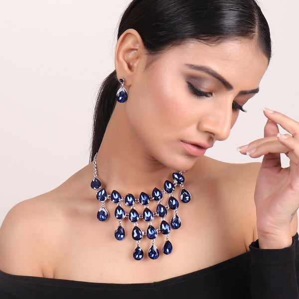 Necklace Set,Tear Drop Magic Necklace Set in Blue - Cippele Multi Store