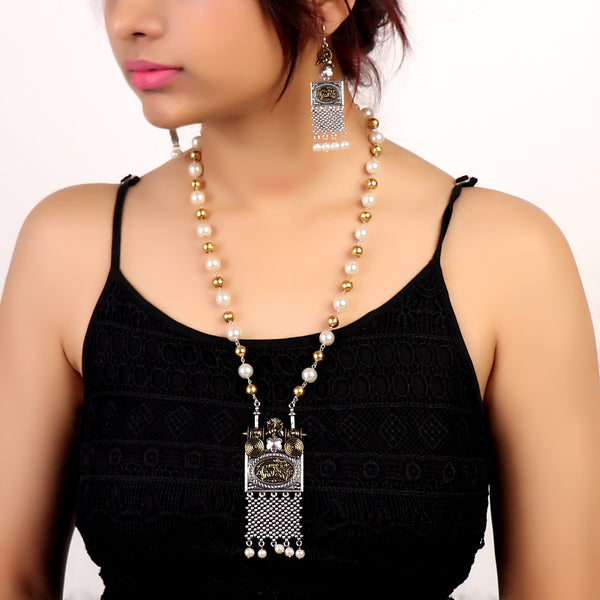 Necklace Set,Pearl Necklace Set with Golden Beads - Cippele Multi Store