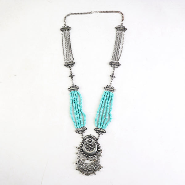 Necklace,Earthy Oxidized Necklace with Turquoise Beads - Cippele Multi Store