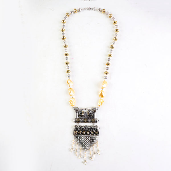 Necklace,Elegant Pearl And Metal Charms Necklace - Cippele Multi Store