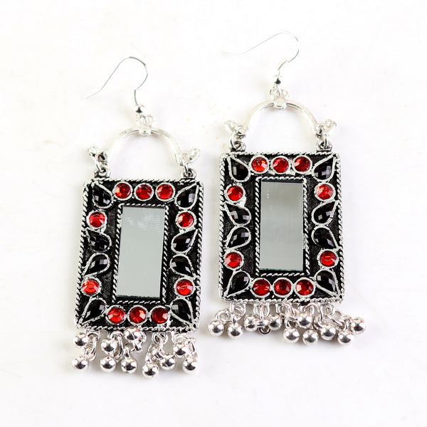 Earrings,Rectangle Mirror Earrings in Red & Black - Cippele Multi Store