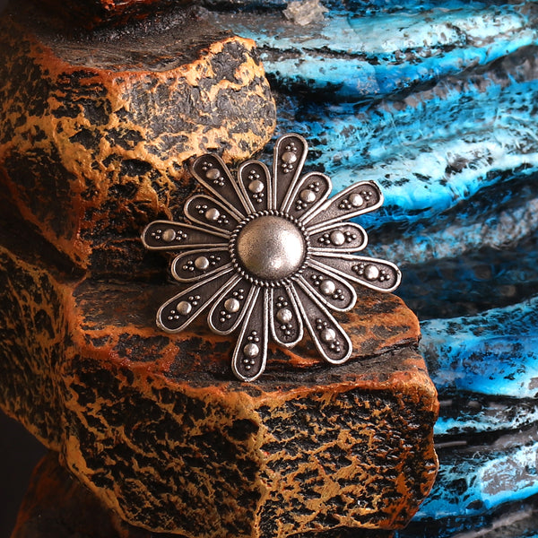 The Lily Silver Look Alike Brass Ring