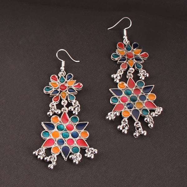 The Vibrant Cosmic Meenakari Earrings in Multicolor