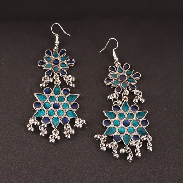 The Vibrant Cosmic Meenakari Earrings in Shades of Blue