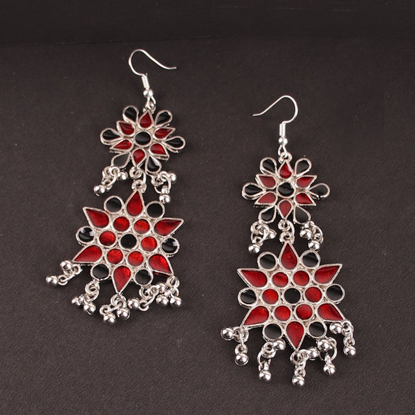The Vibrant Cosmic Meenakari Earrings in Multicolor in Red & Black