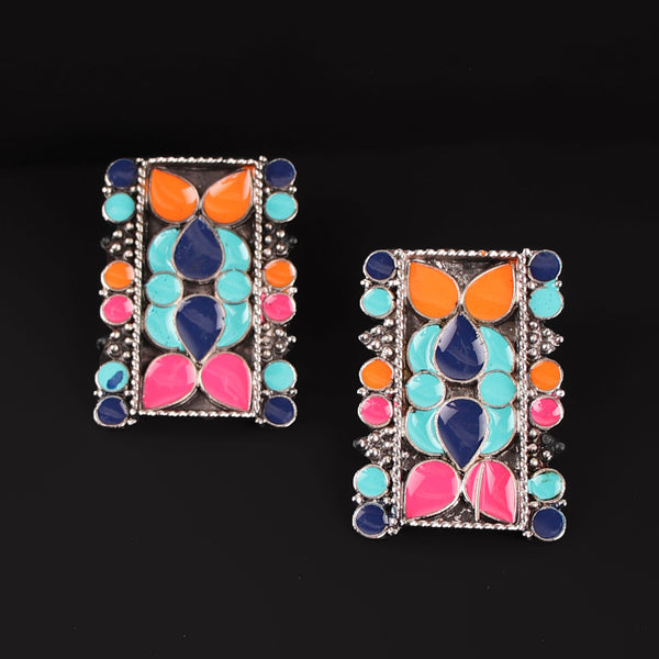 Earrings,The Rectangular Prism Earrings in Multicolor - Cippele Multi Store