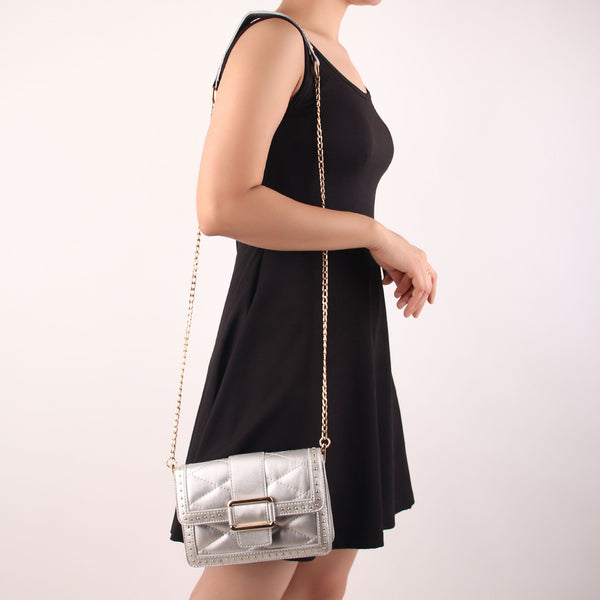 The Pearly Gleamy Sling Bag in Silver