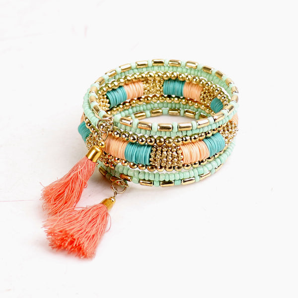 Hand Cuff,Touch of Tassel Spiral Bangle in Pastel - Cippele Multi Store
