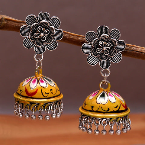 Hand Painted Exquisite Jhumkas in Yellow