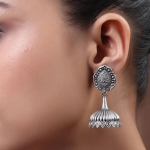 The Crown Brass Silver Look Alike Earring