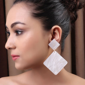 Earrings,The Inverted Square Earring in White - Cippele Multi Store