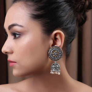 Earrings,The Nizam's Earring in White & Cream - Cippele Multi Store