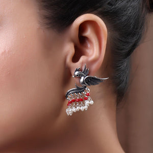 Earrings,Fly with the Bird Silver Look Alike Earring with Red & White Pearls - Cippele Multi Store