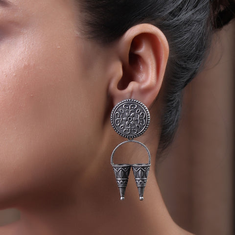 The Double Conned Brass Silver Look Alike Earring