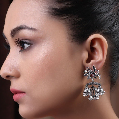 Earrings,The Sparkling Leafy Brass Silver Look Alike Earring - Cippele Multi Store