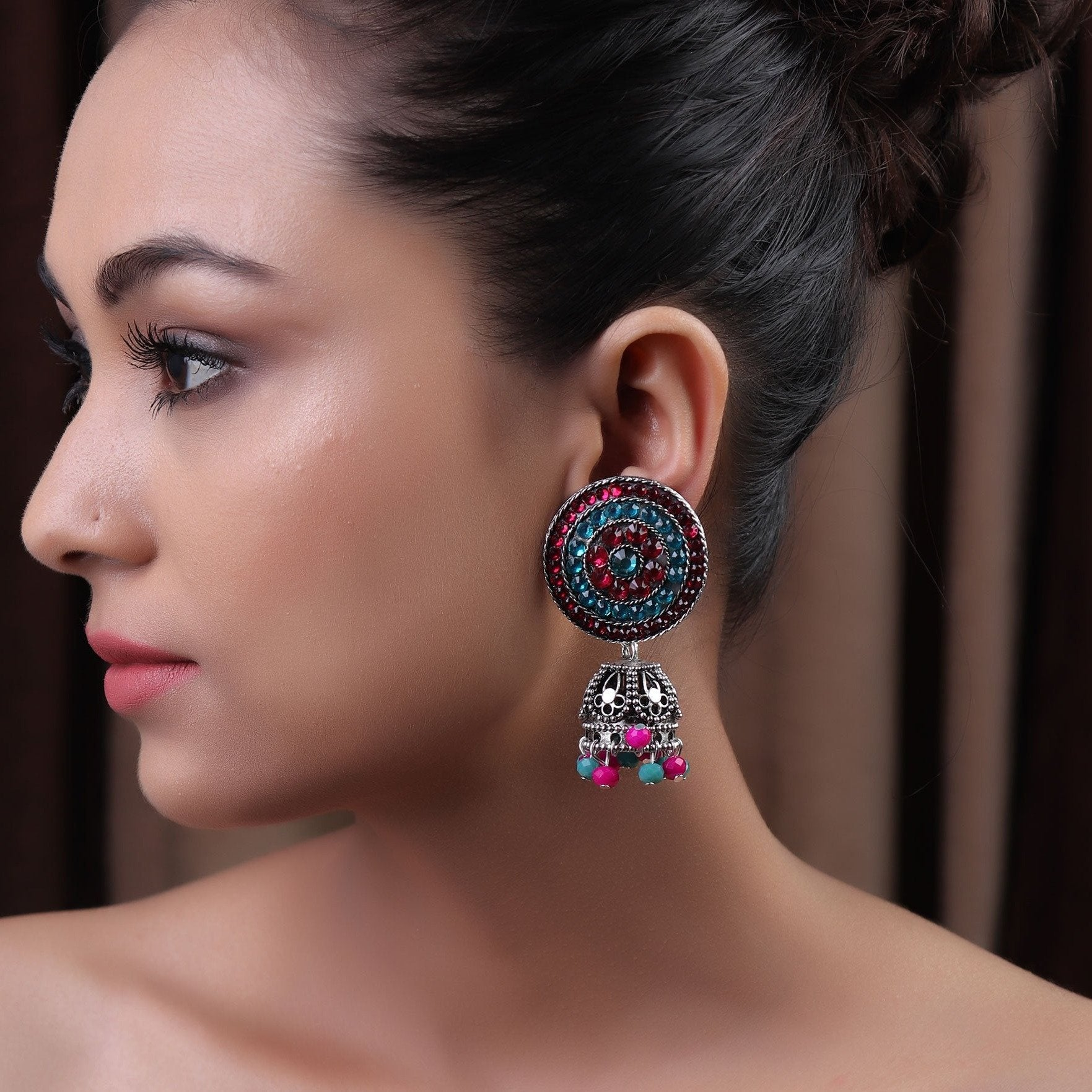 Earrings,The Nizam's Earring in Turquoise Blue & Pink - Cippele Multi Store