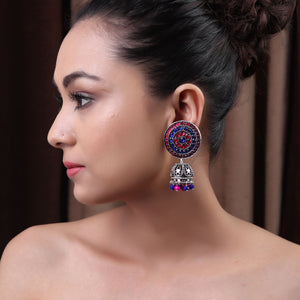 The Nizam's Earring in Blue & Pink