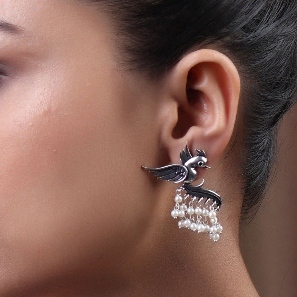 Earrings,Fly with the Bird Silver Look Alike Earring with White Pearls - Cippele Multi Store