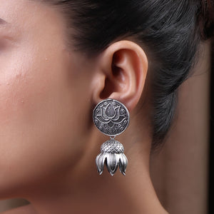 The Padma Brass Silver Look Alike Earring