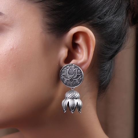 Earrings,The Padma Brass Silver Look Alike Earring - Cippele Multi Store