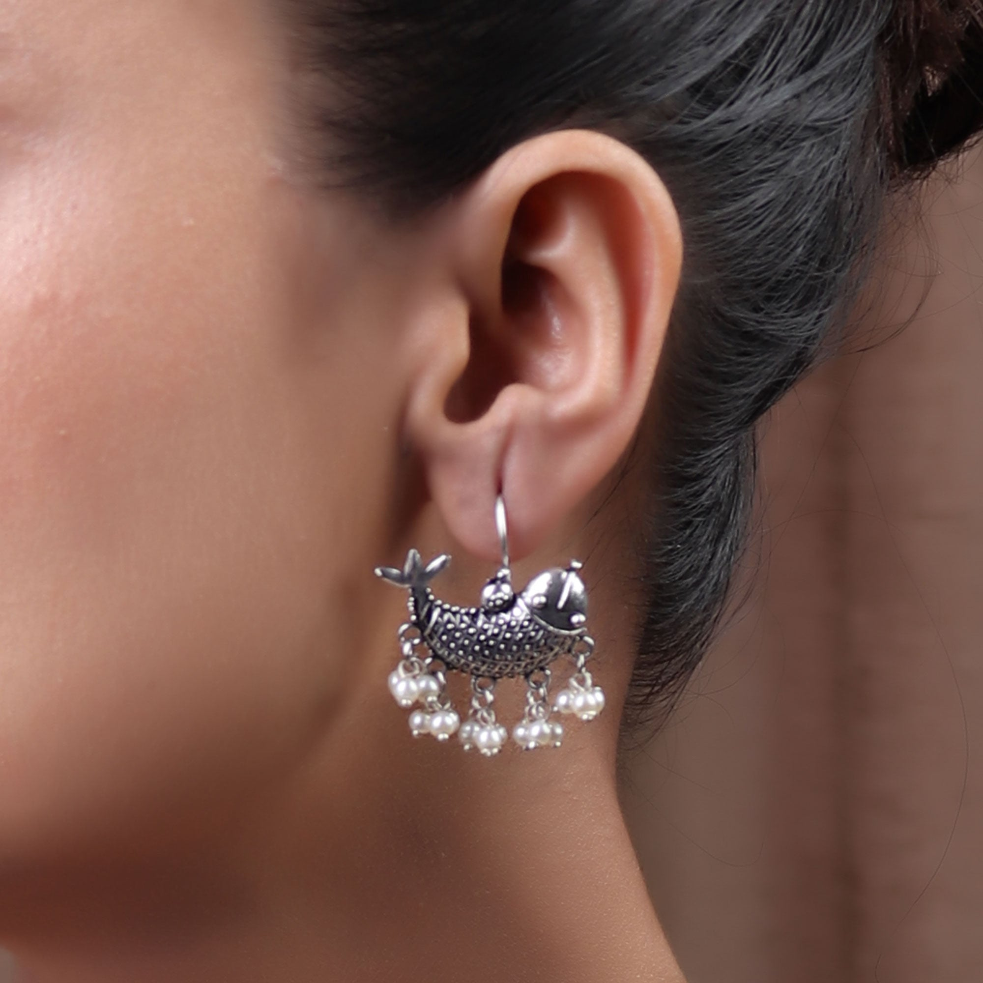 Earrings,The Treasured Dolphin Silver Look Alike Earring - Cippele Multi Store