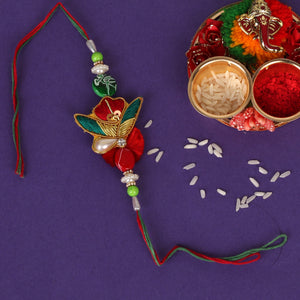 The Pearly Embroidered Elegance in a Rakhi