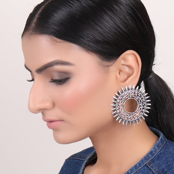 Earrings,Sizzling Sun Studs in Silver - Cippele Multi Store