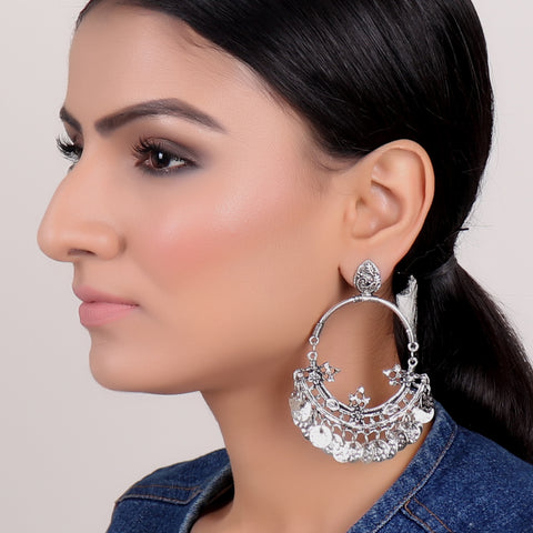Earrings,Hoop Style Jhumkas in Silver - Cippele Multi Store