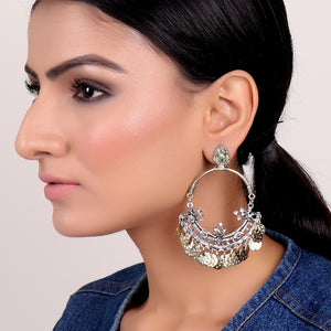 Earrings,Hoop Style Jhumkas in Dual Tone - Cippele Multi Store