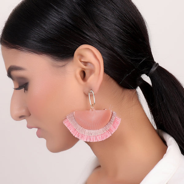 Earrings,Pastel Pink Tassel Earrings - Cippele Multi Store