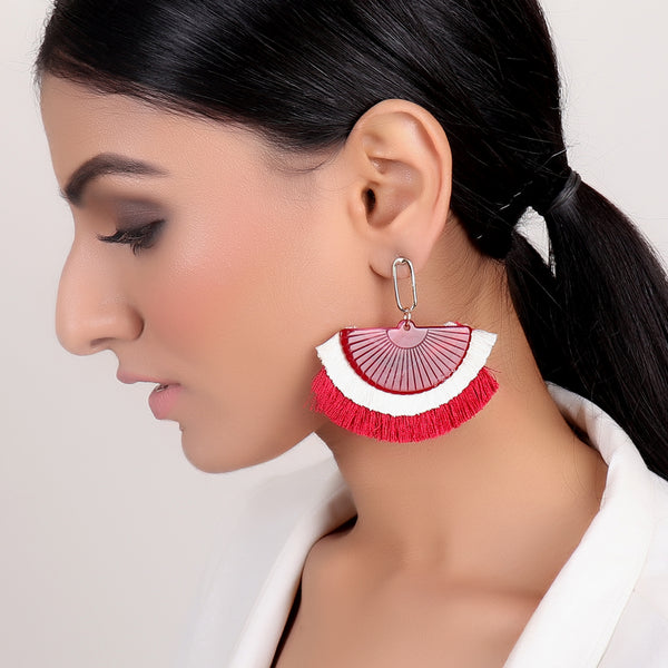 Earrings,Red Tassel Earrings - Cippele Multi Store