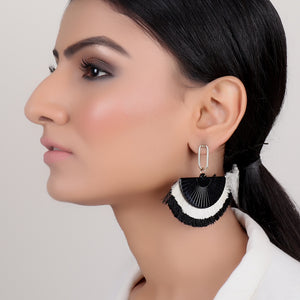 Earrings,Black Tassel Earrings - Cippele Multi Store