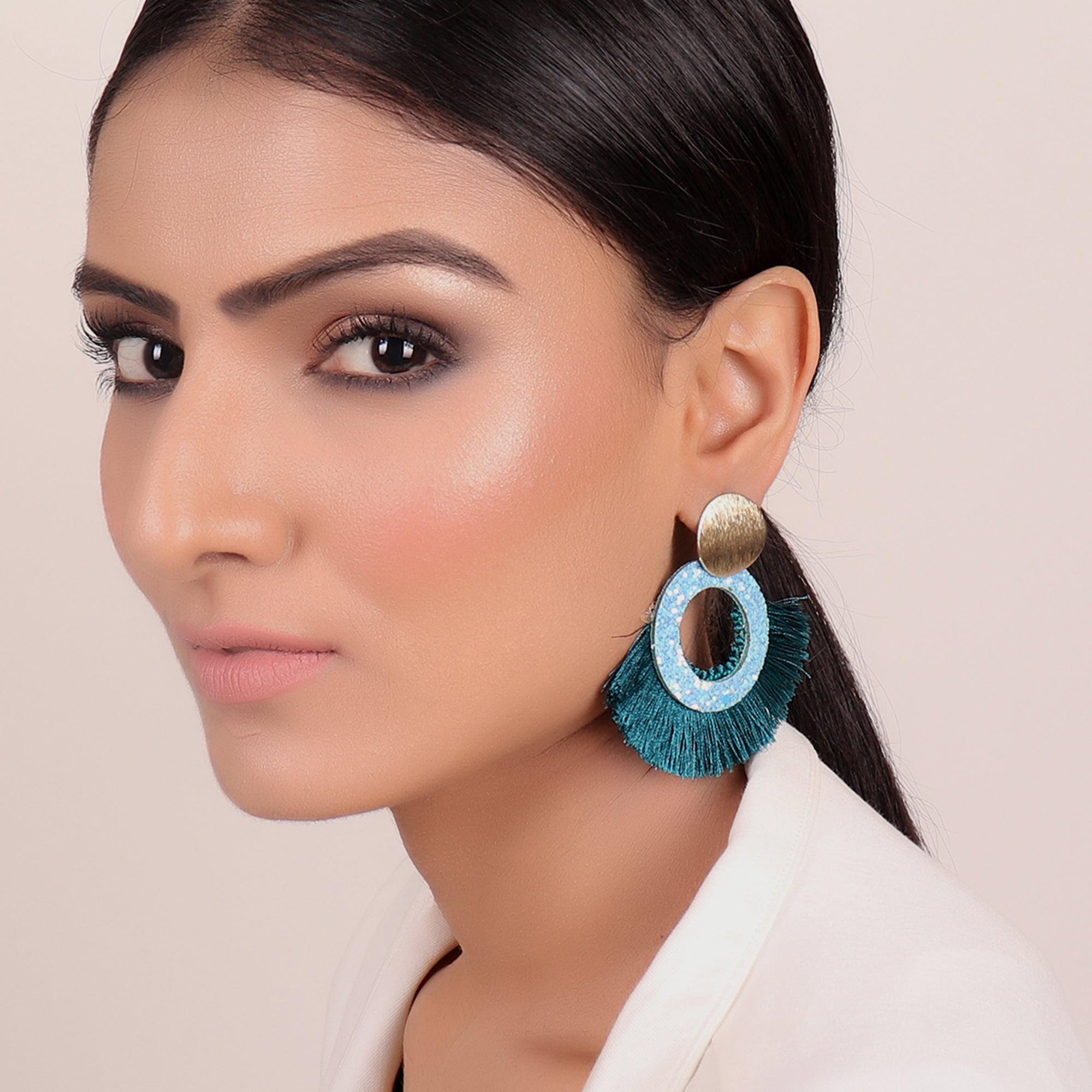 Earrings,Tassel Tryst Earrings in Blue - Cippele Multi Store