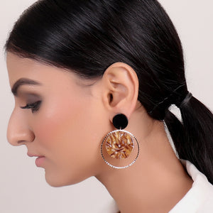 Earrings,Marble styled Earrings in Brown - Cippele Multi Store