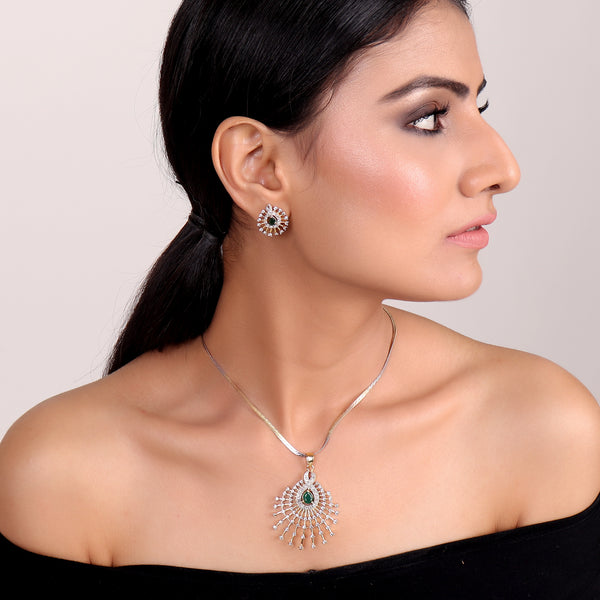 Necklace Set,Asymmetric Stylish Pendant Set with Emerald Green Diamond - Cippele Multi Store