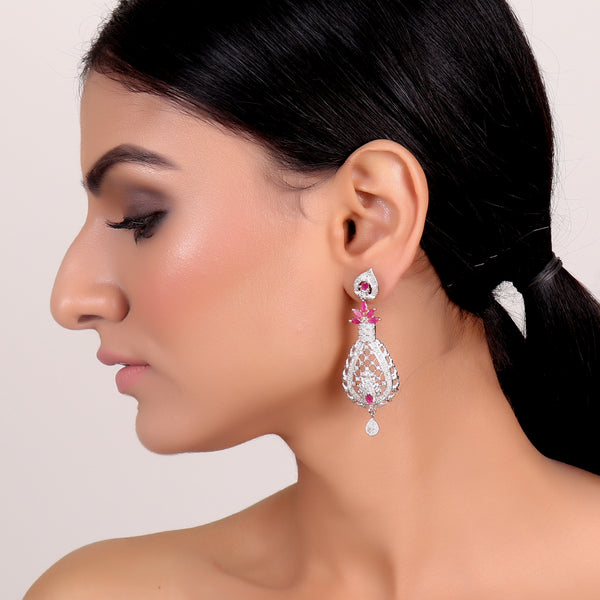 Earrings,Half Flower Western American Diamond Earrings - Cippele Multi Store