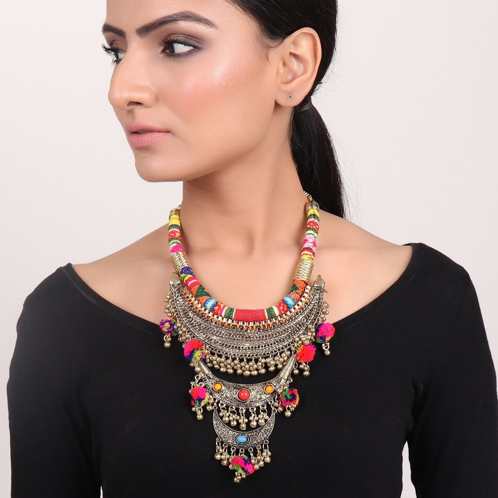 Necklace,Boho Statement Necklace in Golden - Cippele Multi Store