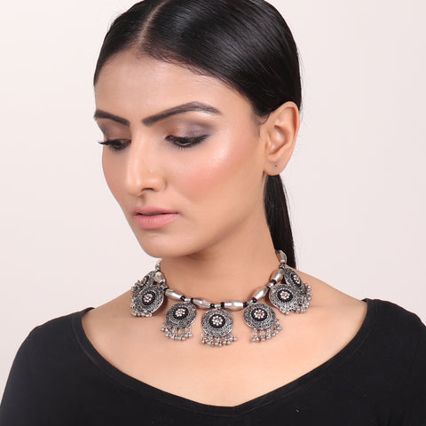 Necklace,Traditional Necklace in Silver & Black hue - Cippele Multi Store