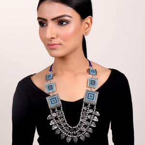 Necklace,Statement Layered Necklace with Blue Accents - Cippele Multi Store