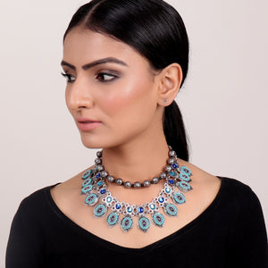 Necklace,Blue Layered Ornate Necklace - Cippele Multi Store