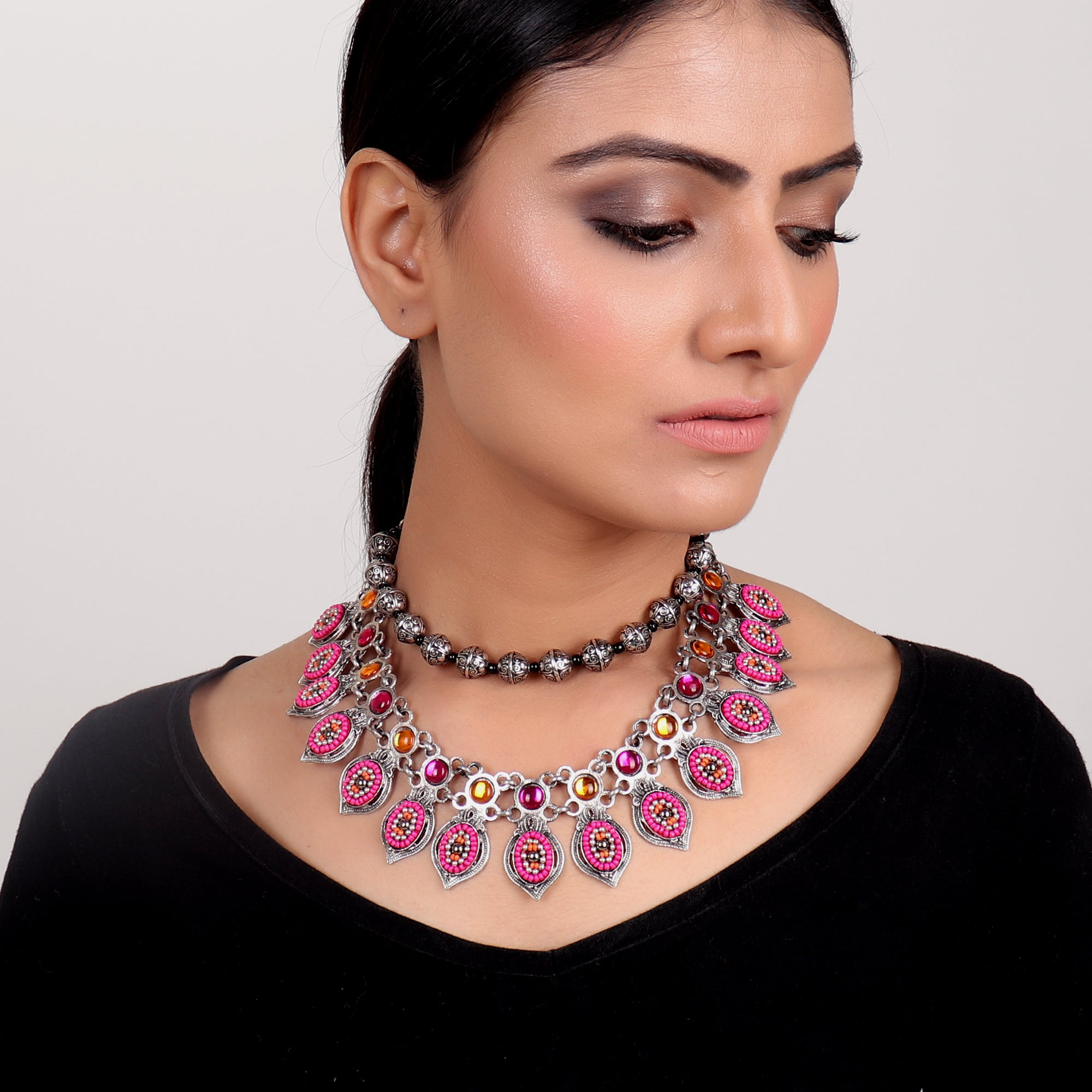 Necklace,Pink Layered Ornate Necklace - Cippele Multi Store