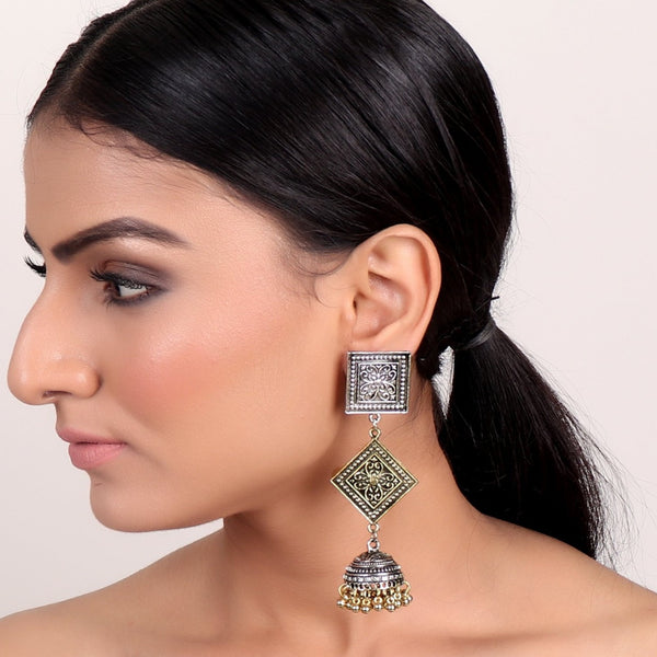 Earrings,Long Dual Toned Jhumki - Cippele Multi Store