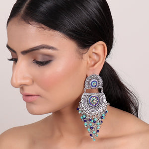 Earrings,Flower Earrings with Beaded Dropdown in Blue - Cippele Multi Store