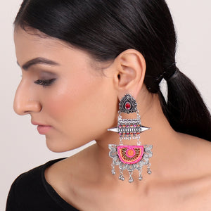 Earrings,Statement Boho Earrings in Pink - Cippele Multi Store