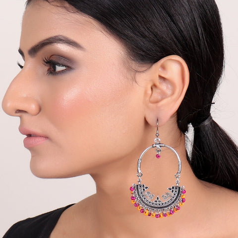 Earrings,Afghan Inspiration Baali with pink & orange beads - Cippele Multi Store