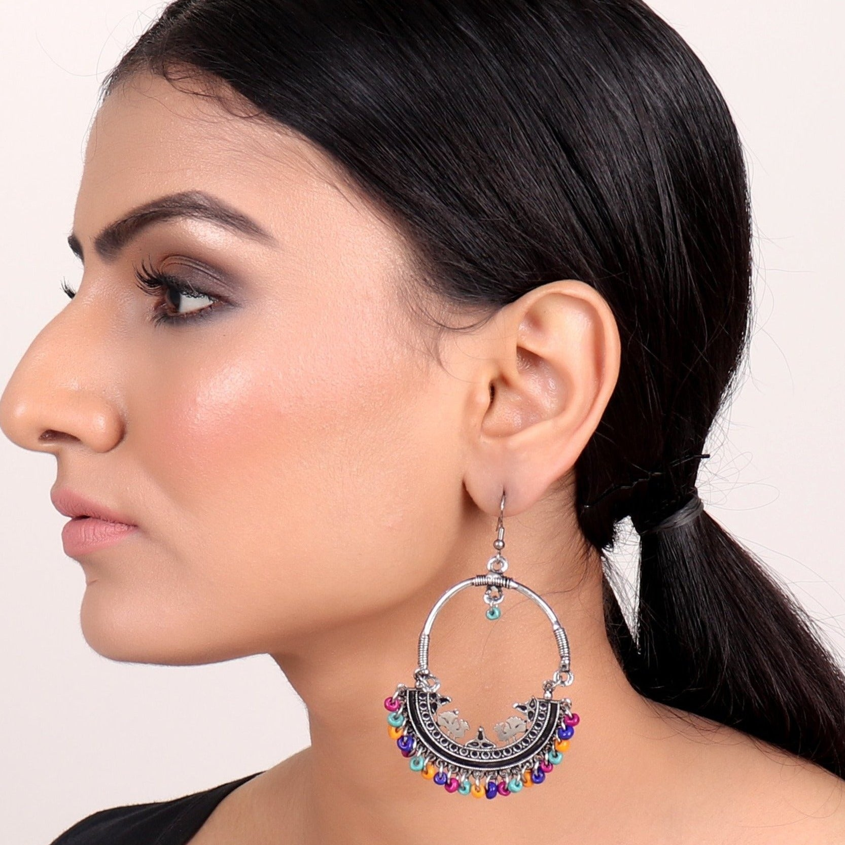 Earrings,Afghan Inspiration Baali with multicolored beads - Cippele Multi Store