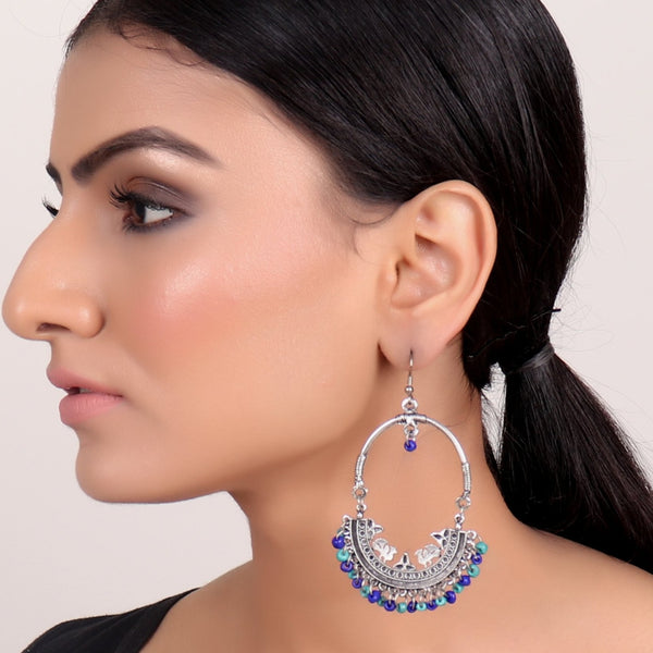 Earrings,Afghan Inspiration Baali with blue & indigo beads - Cippele Multi Store