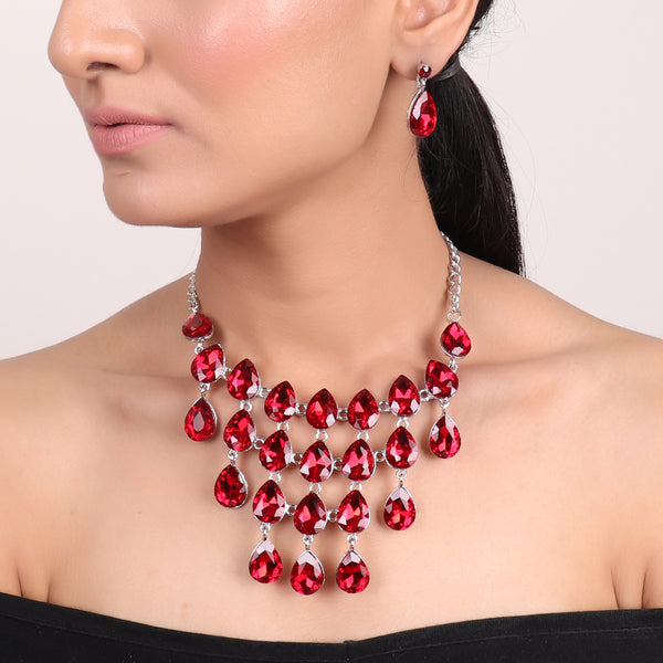 Necklace Set,Tear Drop Magic Necklace Set in Red - Cippele Multi Store